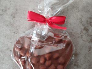 Bruchschokolade Herz Dunkle Schokolade mit gerösteten Mandeln 80gr